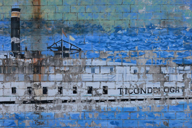 Ticonderoga Ferry depicted in mural on Burlington Waterfront