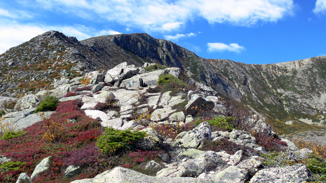 An autumn sky makes for a fine hiking day in Baxter State Park