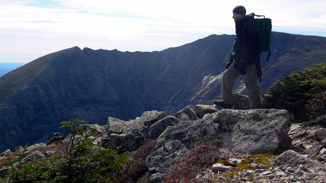 Photographer Don Perkins gazes from Mt. Katahdin