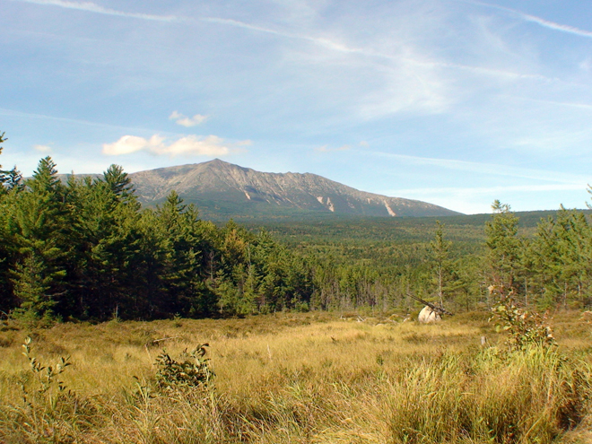 The mile-high Mount Katahdin looms large