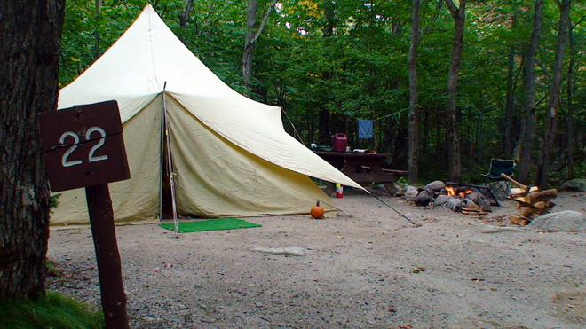 A tent site at Baxter park's Roaring Brook Campground