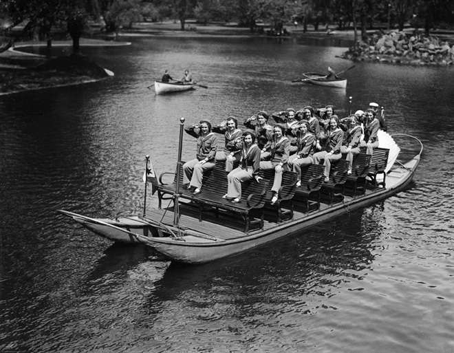 The Women's Naval Reserve ride a Swan Boat (May 1932)