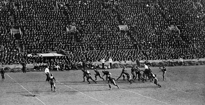Spectators fill Harvard Stadium (1914)